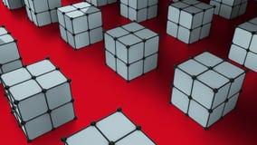 Muchos cubos 3d con los puntos están en la superficie, fondo generado por ordenador moderno, contexto elegante libre illustration