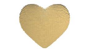 Muchos cubos del oro se forman en un corazón de oro 3d que palpite y bata En el extremo se rompe en pedazos stock de ilustración