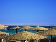 Muchos cubrieron con paja sombrillas en la playa, Egipto, desierto del Sáhara imagen de archivo