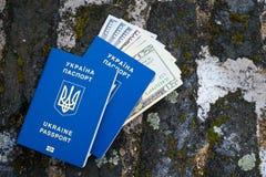 Muchos dólares y dos pasaportes biométricos azules ucranianos Foto de archivo libre de regalías