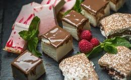 Muchos diferentes tipos de postre - tortas, dulces y empanadas Foto de archivo libre de regalías