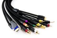 Muchos diversos cables audios y video Imagen de archivo libre de regalías