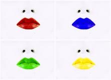 Muchos diversos colores de los labios Imagenes de archivo