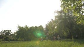 Muchos diversos ni?os que corren en el parque en d?a de verano soleado en ropa casual almacen de video