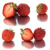 Muchos diversos sistemas de fresas en el fondo blanco, aislante con las fresas, mucho diferentes en una hoja Fotografía de archivo libre de regalías