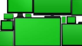 Muchos diversos tipos de pantallas con la pantalla verde libre illustration