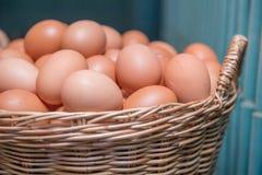 Muchos egg en cesta del vintage Fotos de archivo libres de regalías