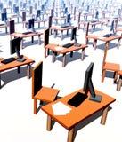 Muchos escritorios con las sillas 2 imagenes de archivo