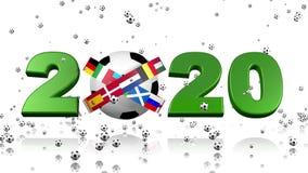 Muchos fútboles minúsculos que llueven en un diseño 2020 y banderas europeas ilustración del vector