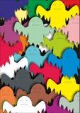Muchos fantasmas coloridos stock de ilustración
