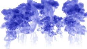 Muchos flujos de tinta azul aislada inyectan La pintura azul se separó en el agua, tiro en la cámara lenta Uso para el fondo manc stock de ilustración