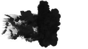 Muchos flujos, nubes negras o humo, tinta inyectan se aísla en blanco en la cámara lenta Descenso negro de la pintura en agua ink stock de ilustración