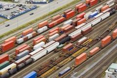 Muchos freightliners Fotografía de archivo libre de regalías