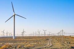 Muchos generadores de viento en el campo fotografía de archivo