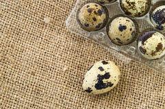 Muchos huevos de codornices en un piso de madera muchos huevos de codornices en el bolso de lino en un piso de madera Fotos de archivo