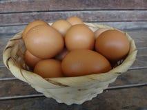 Muchos huevos del pollo en la cesta Imagenes de archivo