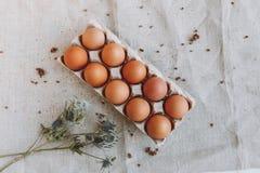Muchos huevos marrones imagenes de archivo
