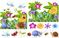 Muchos insectos en jardín de flores stock de ilustración