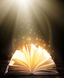 Muchos libros viejos en fondo de madera La fuente de información Abra el libro interior Biblioteca casera El conocimiento es pote fotos de archivo libres de regalías