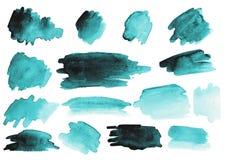 Muchos movimientos del cepillo de la acuarela conjunto gradientes foto de archivo