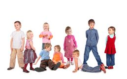 Muchos niños en el blanco, collage Imágenes de archivo libres de regalías