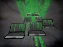 Muchos ordenadores portátiles con un código binario Fotos de archivo