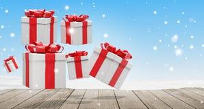 Muchos presentes con la cinta en la Navidad 3d-illustration ilustración del vector
