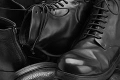 Muchos primers hechos a mano de los zapatos Imágenes de archivo libres de regalías
