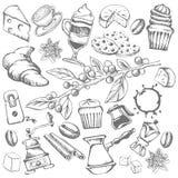 Muchos productos deliciosos para el café de consumición ilustración del vector