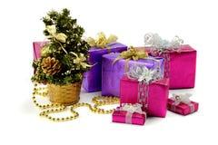 Muchos regalos de la Navidad cerca de un piel-árbol El día de fiesta viene cerca Fotos de archivo