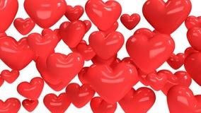 Muchos rojos fondo abstracto 3d del corazón rendir stock de ilustración