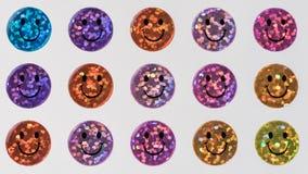Muchos smiley sonrientes chispeantes coloridos como fondo Fotos de archivo