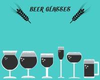 Muchos tipos de la cerveza Glasses02 Imagen de archivo