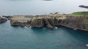 Muchos turistas están dando une vuelta en los acantilados cerca de la roca del tronco del elefante, 4k almacen de metraje de vídeo