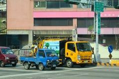 Muchos vehículos en la calle en Taichung Fotografía de archivo