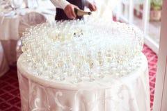 Muchos vidrios de champán Foto de archivo libre de regalías