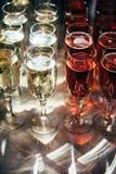 Muchos vidrios de champán Imagen de archivo libre de regalías