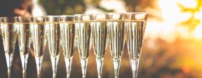 Muchos vidrios de champán o de prosecco cerca de la piscina del centro turístico en un luxu fotos de archivo