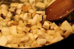 Muchroom sauce cooking in pot Stock Photo