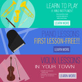 Mucic lesson banner flat raster set,wind instrument ,piano,violin.web tamplate. advertisement Royalty Free Stock Images