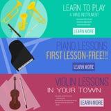 Mucic uppsättning för raster för kursbanerlägenhet, blåsinstrument, piano, fiol rengöringsduktamplate annonsering Royaltyfria Bilder
