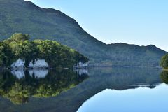 Muckross Lake reflections. Reflections of hills forests and rock formations on calm surface of Muckross Lake in Ireland royalty free stock image
