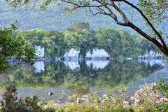 Muckross Lake reflections. Reflections of hills forests and rock formations on calm surface of Muckross Lake in Ireland royalty free stock photo