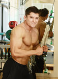 Mucsular male. Muscular perfect male in a gym center Royalty Free Stock Photography