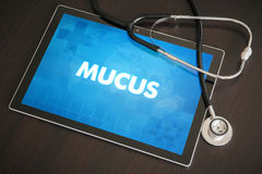 Mucus (gastrointestinal disease related) diagnosis medical conce. Pt on tablet screen with stethoscope Stock Photography