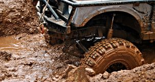 In the mud. 4x4 wheel drive in the mud Stock Photos
