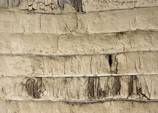 Mud, bamboo and straw wall texture. In Nepal stock images