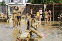 Mud baths to improve the condition of the skin and strengthen the immune system Stock Photos