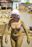 Mud baths to improve the condition of the skin and strengthen the immune system Stock Photo