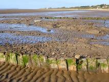 Mud beach at low tide. The mud beach at low tide at Burnham-on-Sea in Somerset, England royalty free stock photos